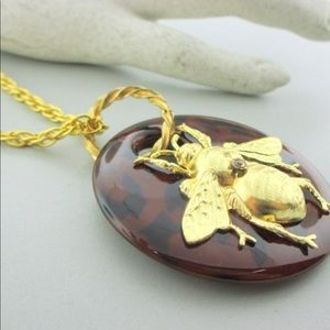 Jewelry - Gold Bee Necklace, Rope Chain Tortoiseshell Look!!